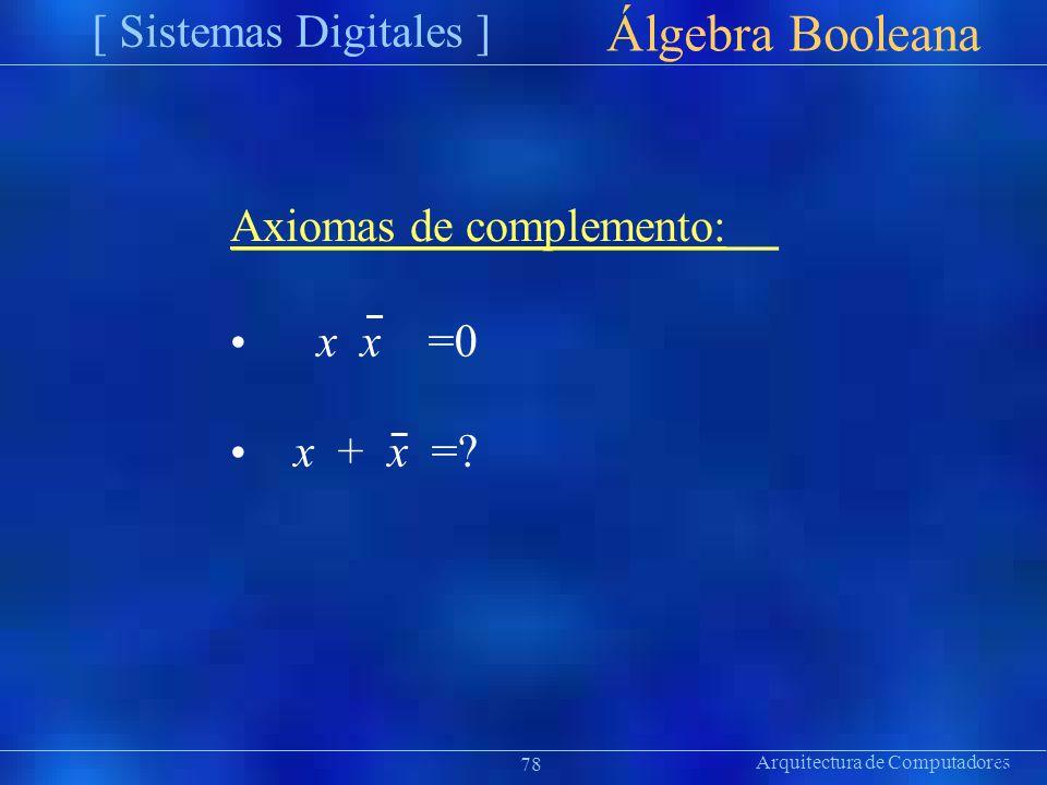 Álgebra Booleana [ Sistemas Digitales ] Axiomas de complemento: •